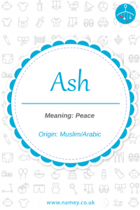 Baby boy name meaning peace Ash